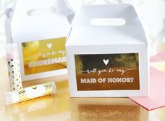 "Why not Pop the Question with a super cute gift box? Personalized with gold foil stickers with ""will you be my..."" Bridesmaid or Maid of Honor on white gift box"
