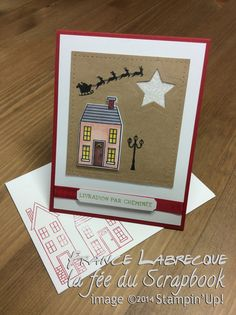 "Jeux d'étampes ""Comme chez nous / Holiday Home"" + Framelits ""Comme chez nous / Homemade Holiday"" ... www.lafeeduscrapbook.com Stampin Up, Catalogue, Halloween, Comme, Artisan, Creations, Presents, Scrapbooking, Houses"