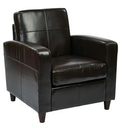 Office Star Ave Six Venus Club Chair in Environmentally Friendly Espresso Bonded Leather & Solid Wood Legs [VNS51A-EBD]