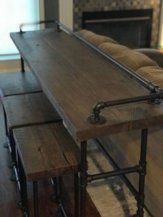 Reclaimed wood sofa table and stools. All CaseConcepts wood comes from reclaimed barns, mills and farm houses around southern Michigan and northern Ohio and Indiana. Most of the structures wood we use dates back to the All the wood is cleaned, sanded and Furniture Projects, Home Projects, Diy Furniture, Barn Wood Furniture, Pallet Projects, Diy Pallet, Woodworking Furniture, Woodworking Tips, Industrial Furniture