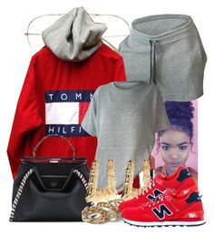 """10/12/16"" by jasmineharper ❤ liked on Polyvore featuring Fendi, River Island, Topshop and New Balance"
