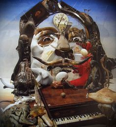 Salvador Dali by French Artist Bernard Pras who recreates well-known images and icons out of specifically chosen found objects, arranged in a specific form.