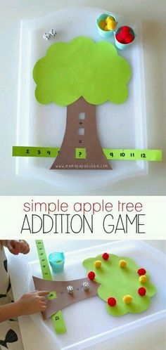 DIY Math Games Ideas to Teach Your Kids in an Easy and Fun Way Simple Apple Tree Addition Game Addit Math Games For Kids, Preschool Activities, Subtraction Activities, Addition Activities, Kids Math, Math Games For Preschoolers, Fun Games, Math Math, Addition Games For Kindergarten