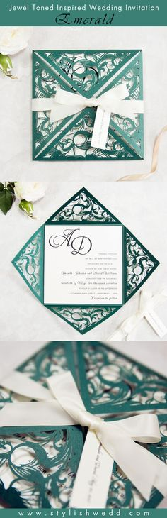 Jewel Toned Emerald Wedding Invitation SWWS036
