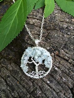 Tree Of Life Necklace Aquamarine on Silver Wire by Just4FunDesign, $30.00