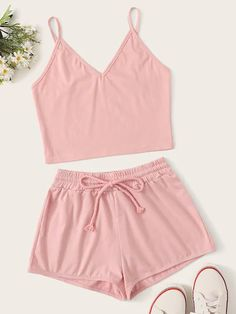To find out about the Solid Cami Top With Drawstring Waist Shorts at SHEIN, part of our latest Two-piece Outfits ready to shop online today! Cute Pajama Sets, Cute Pjs, Cute Pajamas, Girls Fashion Clothes, Teen Fashion Outfits, Girl Fashion, Emo Outfits, Punk Fashion, Lolita Fashion
