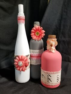 Coral, Gray, White Bottle Art by WhimsicalWineDecor on Etsy