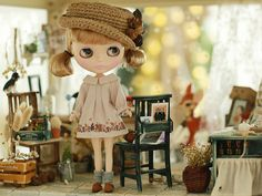 Miss yo 2015 Summer & Autumn - Squirrel Pattern Vintage Dress for Blythe / JerryBerry doll - dress / outfit - Beige
