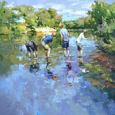 Happiness.  Alexi Zeitsev.  4 boys skipping rocks