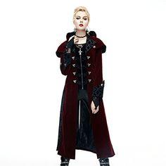 Gothic Palace Women Long Jacket Coats Steampunk 2017 Autumn Red Winter Coat