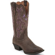 Women's Fashion Western Justin Boots from Bootbay, Internet's Best Selection of Work, Outdoor, Western Boots and Shoes. Justin Cowgirl Boots, Cowboy Boots, Good Work Boots, Lifestyle Trends, Western Boots, Brown Boots, Riding Boots, Westerns, Purple