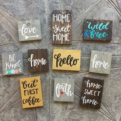 Handmade hand-painted custom wooden signs for your home and more made by The… Diy Wood Signs, Vinyl Signs, Rustic Signs, Wooden Signs For Home, Pallet Crafts, Wooden Crafts, Wooden Diy, Craft Show Ideas, Hand Painted Signs