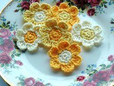 Yellow and Cream Crochet Flowers