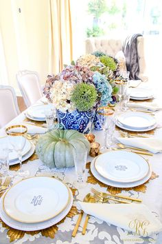 Elegant Heirloom Thanksgiving Table Scape how to set an elegant table using heirloom pumpkins faux hydrangeas votives and heirloom pieces