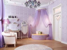 love the purple design on walls and is that a purple stage?? That'd be a cute spot for a beanbag chair!