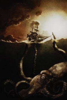 Kraken. Digital painting by Emanuel Petersson