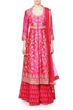 An exceptional sense of color and design brings to you this exquisite pink raw silk jacket. Paired with a cotton jacquard lehenga, this ensemble is perfect for the young, trendy and confident modern women.