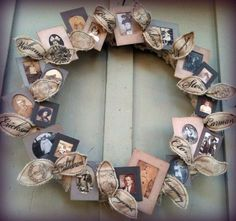 nice way to use old family photos and display them without having a million picture frames!