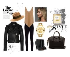 """""""All in Black"""" by anastasiya3kim on Polyvore featuring Maison Michel, IRO, Ralph Lauren Collection, STELLA McCARTNEY, Christian Louboutin, Givenchy, Movado, Lana and Loewe"""