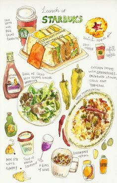Lunch at Starbucks; Chicken with green olives and turmeric. Watercolor Food, Watercolour, Food Sketch, Food Journal, Food Drawing, Mets, Evening Meals, Kitchen Art, Food Illustrations