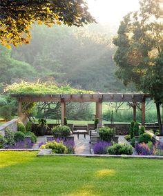 Backyard Garden On A Budget backyard garden pergola vines.Beautiful Backyard Garden Tips. Backyard Garden Design, Backyard Landscaping, Balcony Garden, Landscaping Ideas, Garden Arbour Seat, Backyard Designs, Diy Garden, Garden Seating, Pergola Designs