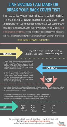 It's important that the text on the back of your book is laid out so that it's easy to read. No one will struggle to read your text. This infographic explains leading and why it's an important part of your back cover text layout.   Embed This Image On Your Site (copy code below):