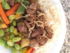 WHS Summer School Menu @Westside66 Teriyaki Glazed Pork over rice, sweet and sour vegetables, strawberries and milk