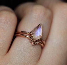 bar ring leather band ring modern ring women Labradorite moonstone Ring