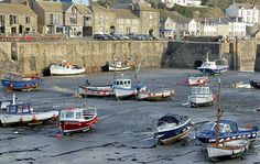 Boats in harbour at Porthleven,Cornwall