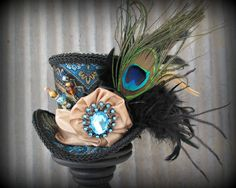 Blue Black and Turquoise Mini Top Hat Mad hatter Hat by ChikiBird, $55.00