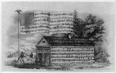 An illustrated campaign music sheet, showing Harrison, in front of a log cabin, greeting a veteran. Election Cartoons, William Henry Harrison, Cabin, Rustic, History, Illustration, Campaign, Painting, Country Primitive