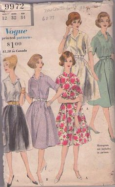 MOMSPatterns Vintage Sewing Patterns - Vogue 9972 Vintage 60's Sewing Pattern CLASSIC Mad Men Rockabilly Era Step In Shirtwaist Dress Set Contrast, Novelty Print NICE! Size 12