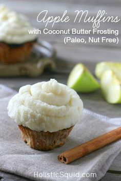 Apple Muffins with Coconut Butter Frosting (Paleo, Nut Free) - Holistic Squid