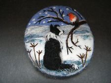 Handmade needle felted brooch/Gift 'Gwen and the Winter Robin ' by Tracey Dunn