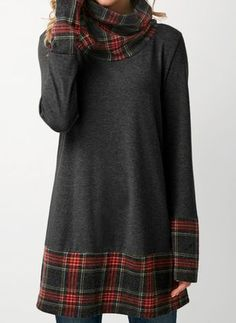 Plaid Cowl Neck Patchwork Dark Grey T Shirt . Read more The post Plaid Cowl Neck Patchwork Dark Grey T Shirt .Fashion blouse are waiting for taki… appeared first on How To Be Trendy. Stylish Tops For Girls, Trendy Tops For Women, Vestidos Sexy, Long Tunic Tops, Dress Plus Size, Blouse Styles, Clothes For Women, Cheap Clothes, Cowl Neck