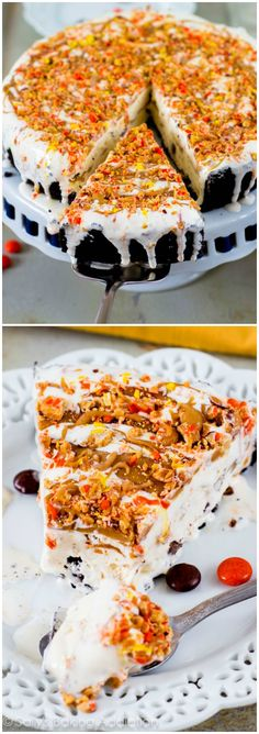 Lightened-Up Reese's Peanut Butter Ice Cream Pie. Only 6 ingredients!