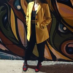 Silk pants & crop. Red socks & sandals. Mustard jacket. #BabaChic