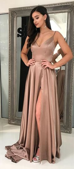 Champagne Prom Dress,Sexy Prom Dress,Long Prom Dress With Side Slit,Sexy Party Dress,Graduation Dress M3586