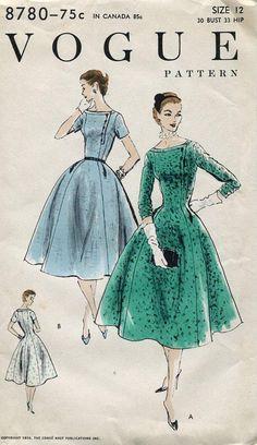 FREE US SHIP Vogue 8780 Vintage Retro 1950s 50s 1956 Dress Button Bodice Bust 30 Factory Folded Unused Original Pattern by LanetzLivingPatterns on Etsy