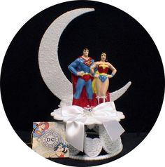 DC SUPERMAN & Wonderwomen  Wedding Cake topper Super hero Wonder Women Funny