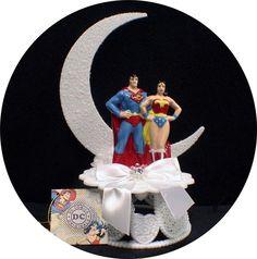 DC SUPERMAN & Wonderwomen  Wedding Cake topper Super hero Wonder Women Funny