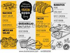 Find Mexican Menu Placemat Food Restaurant Menu stock images in HD and millions of other royalty-free stock photos, illustrations and vectors in the Shutterstock collection. Carta Restaurant, Restaurant Vintage, Restaurant Menu Template, Restaurant Menu Design, Restaurant Branding, Food Menu Template, Resto Vegan, Mexican Food Menu, Mexican Food Restaurants