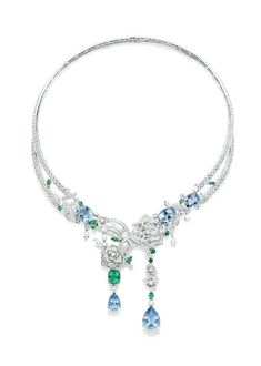Piaget #Rose Passion #necklace in white #gold set with #diamonds, #emeralds and #aquamarines.