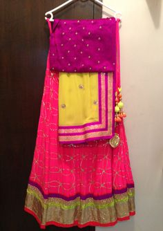 Electic mix of colors Indian Look, Indian Wear, Indian Dresses, Indian Outfits, Indian Clothes, Ethnic Fashion, Asian Fashion, Half Saree Lehenga, Sarees