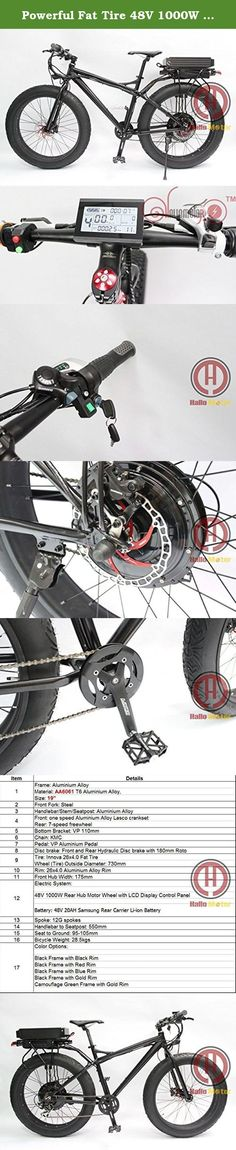 """Powerful Fat Tire 48V 1000W 26"""" Total Black Electric Bicycle Snow Ebike Rear Carrier 48V 20AH Lithium Battery Multi Color Wheel. Specification 1.Frame:Aluminum Alloy Material:AA6061 T6 Aluminum Alloy Size:19"""" 2.Front Fork:Steel 3.Handlebar/Stem/Seatpost:Aluminum Alloy 4.Front: one speed Aluminum Alloy Lasco Cranset 5.Bottom Bracket: VP 110mm 6.Chain:KMC 7.Pedal:VP Aluminum Pedal 8.Disc Brake:Front and Rear Hydraulic Disc Brake With 180mm Roto 9.Tire:Innova 26*4.0 Fat Tire Wheel…"""