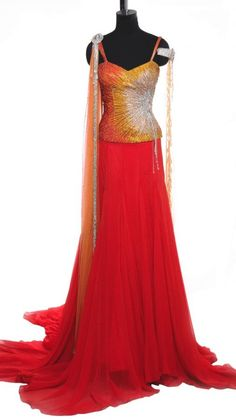 Orange Corset and Red Lehenga | Strandofsilk.com - Indian Designers