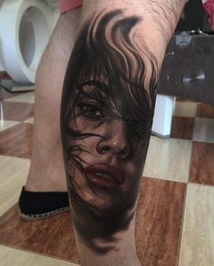 Awesome dusty realism in the Awesome Realistic Portrait tattoo on Arm by Fred Tattoo. Weird Tattoos, 3d Tattoos, Cover Up Tattoos, Sexy Tattoos, Sleeve Tattoos, Tattoos For Guys, Cool Tattoos, Tatoos, Fred Tattoo