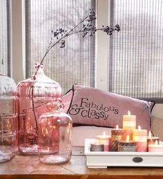 transparent rose colored glass, lovely composition with the curved branch