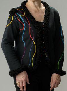 Black Trimmed Knit Jacket, Black Sweatshirt Jacket, Women's Black Sweatshirt Jacket by LondasCreativeSewing on Etsyhttps://www.etsy.com/listing/272013340/black-trimmed-knit-jacket-black