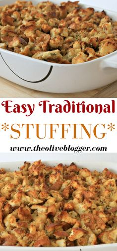 Easy Traditional Stuffing Recipe for the Holidays Easy Traditional Stuffing Recipe - A classic stuffing recipe you can make for any Holiday or family gathering that everyone will love! Traditional Stuffing Recipe, Classic Stuffing Recipe, Easy Stuffing Recipe, Stuffing Recipes For Thanksgiving, Holiday Recipes, Christmas Recipes, Homemade Stuffing For Turkey, Thanksgiving Ideas, Turkey Gravy
